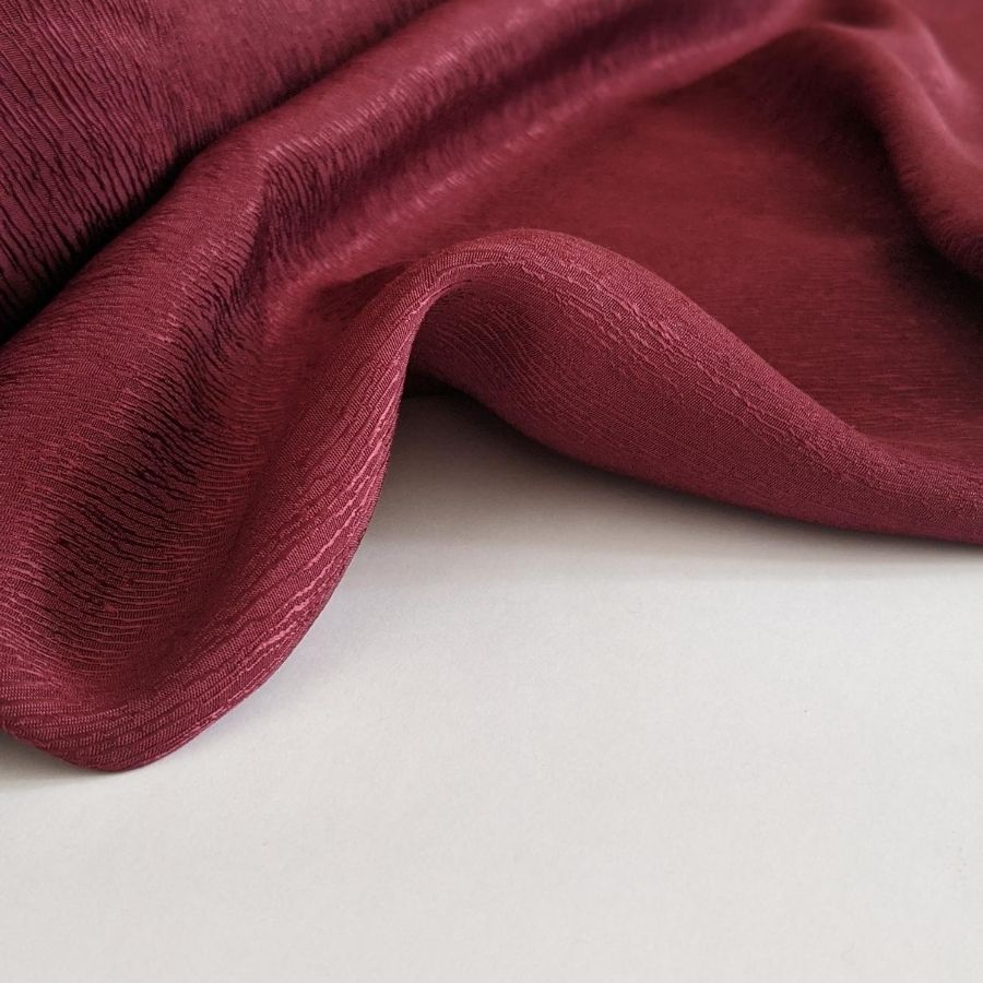 Cupro Tencel Bark Crepe in Burgundy  second view