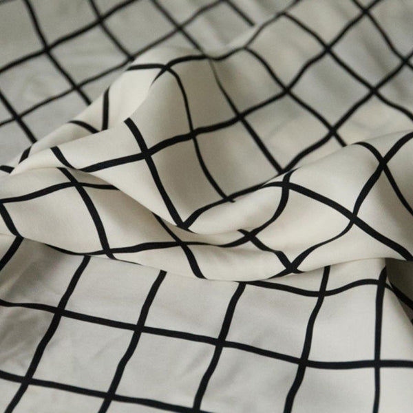 Japanese cupro fabric white grid