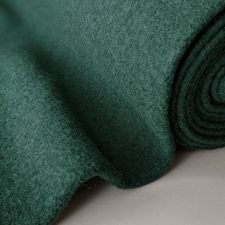 Good Fabric Wool Boucle Emeralrd green folded view