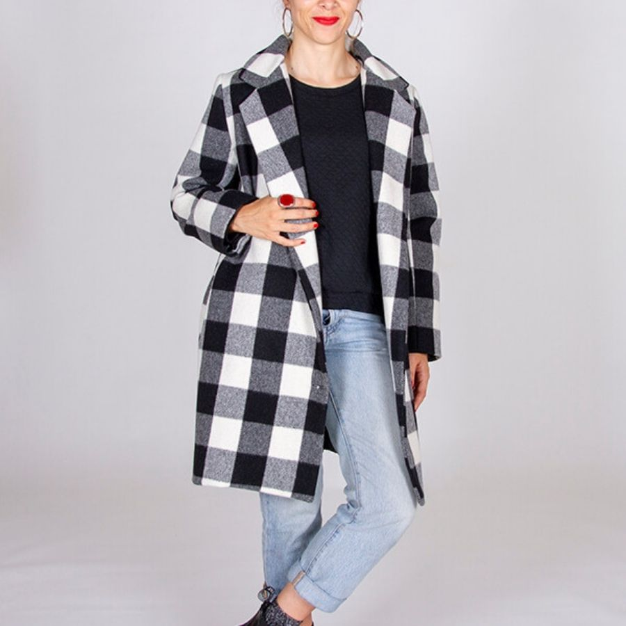 I am Patterns Merlin coat in check fabric
