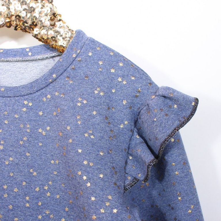 Ikatee Pattern Jasmine sweatshirt in blue with ruffles close up