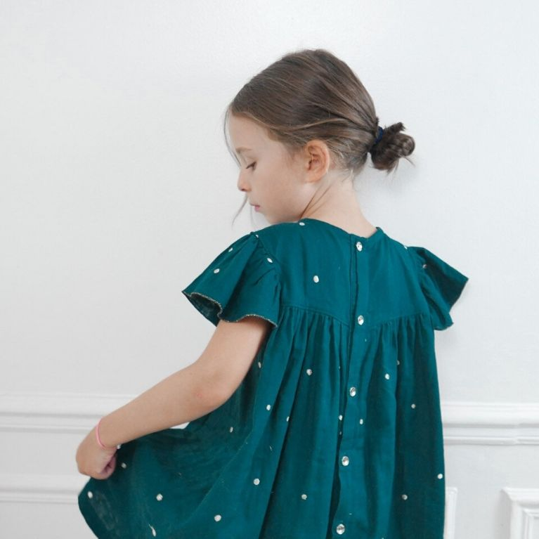 Ikatee Pattern Louise Green Dress back view