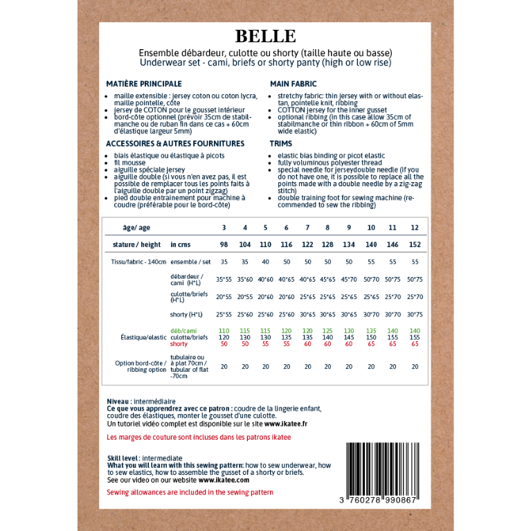 Ikatee Sewing Pattern Belle Size Chart