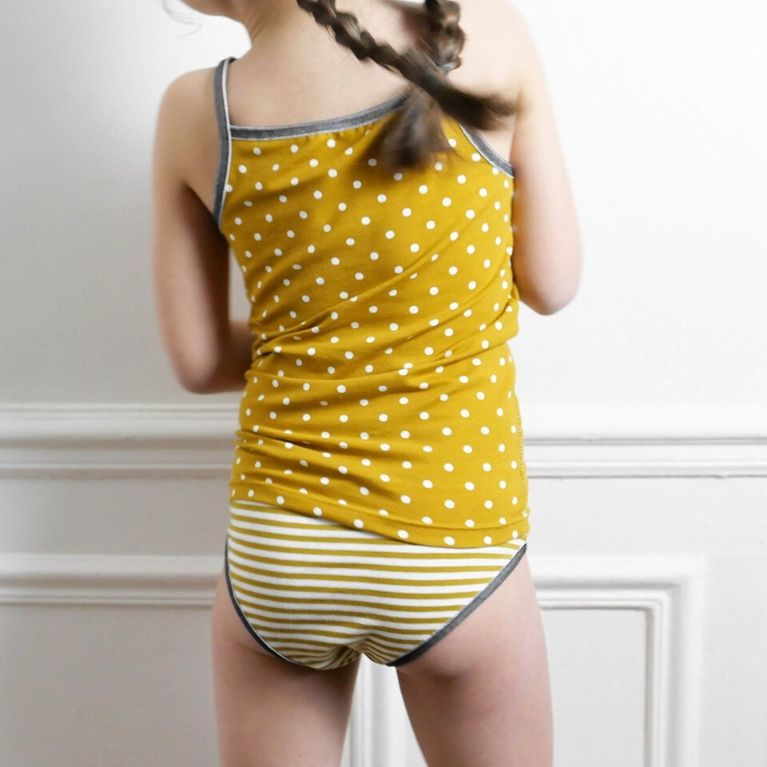 Ikatee Sewing Pattern Belle mustard set back view
