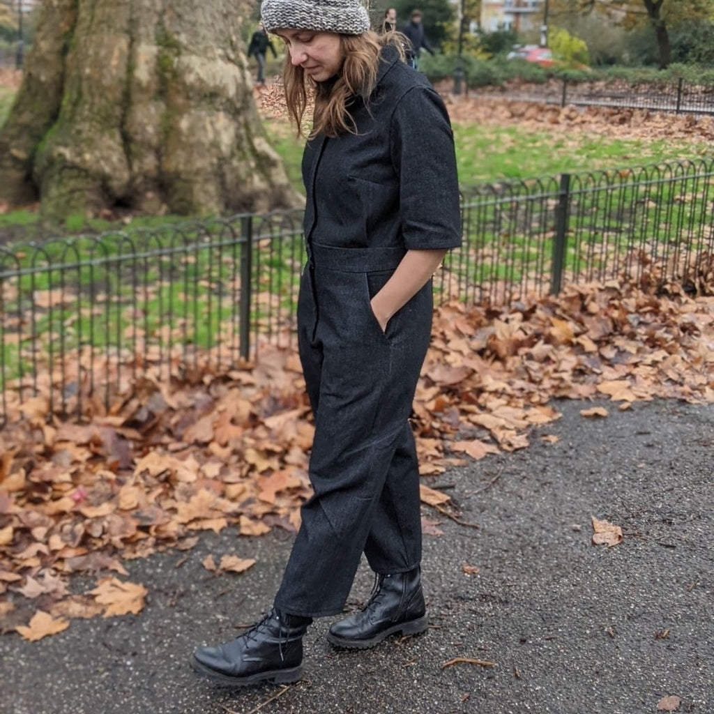 Lennox jumpsuit in black denim side view