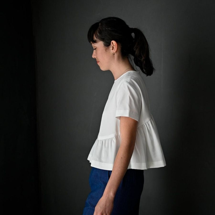 Merchant & Mills Florence Top in white side view