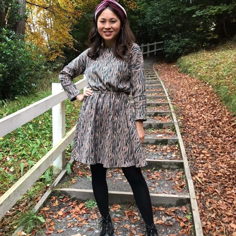 Georgina in Lotta Dress made in jacquard knit
