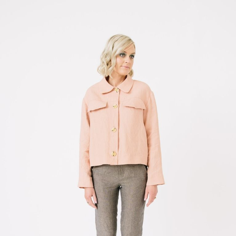Papercut Patterns Stacker Jacket in pink front2