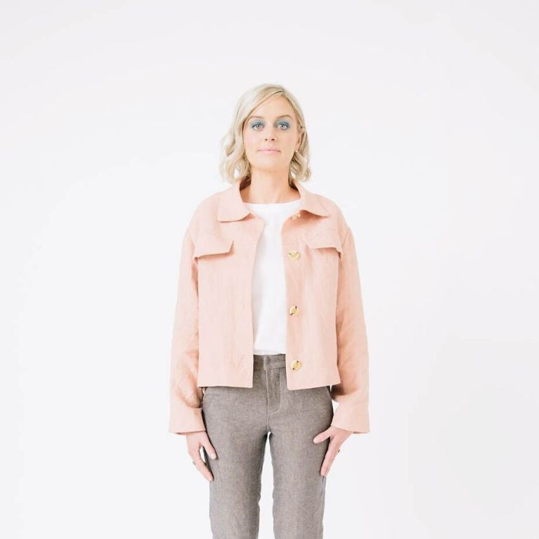 Papercut Patterns Stacker Jacket in pink open