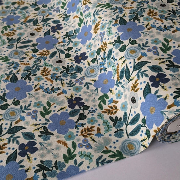 Rifle Paper cotton fabric wild rose in blue