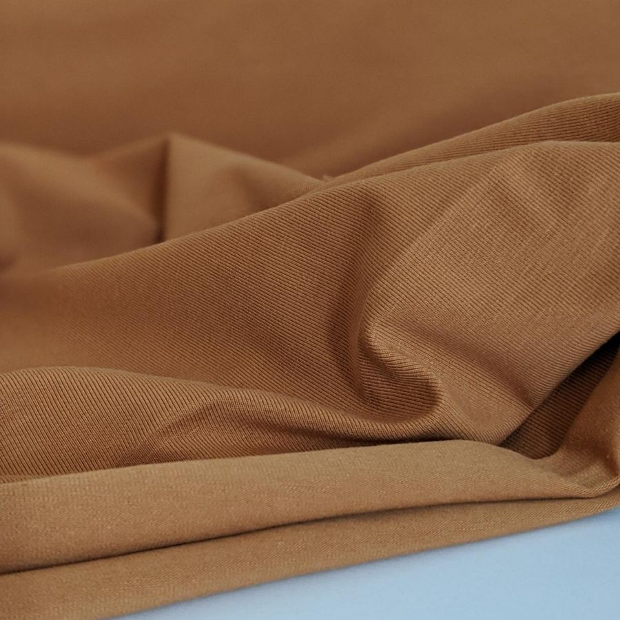 Stof Fabric Avalana Jersey in Camel close up
