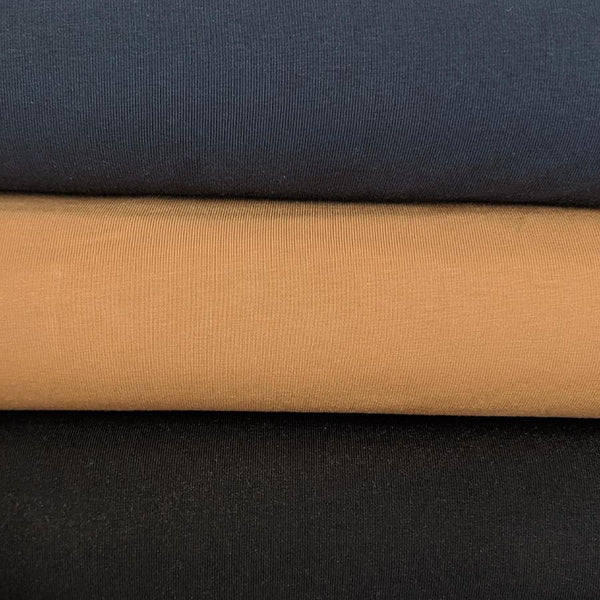Stof Fabric Avalana Jersey Dark Navy, Camel and Black