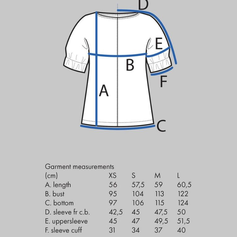 The Assembly Line Cuff Top Size chart