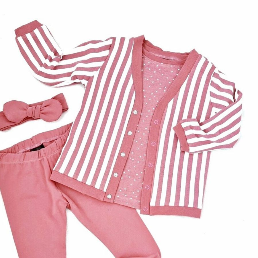 Tygdrommar cotton jersey vertical lines in old rose jacket