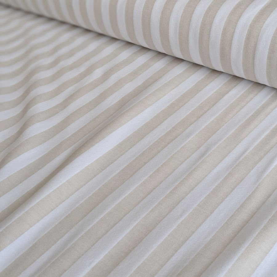 Tygdrommar cotton jersey vertical lines sand