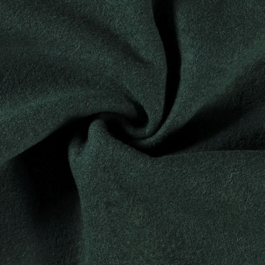 Wool boucle in dark green close up