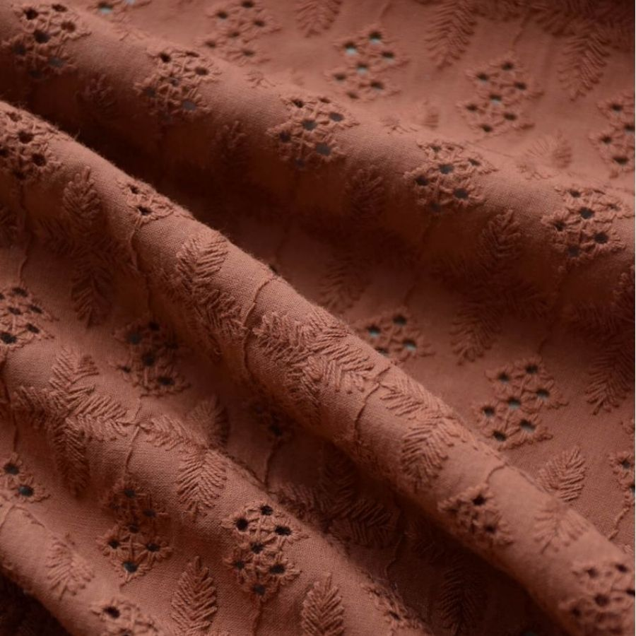Cousette cotton Broderie Anglaise in Cinnamon