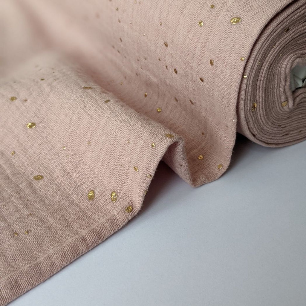 Good Fabric organic double gauze in blush with gold dots  wave view
