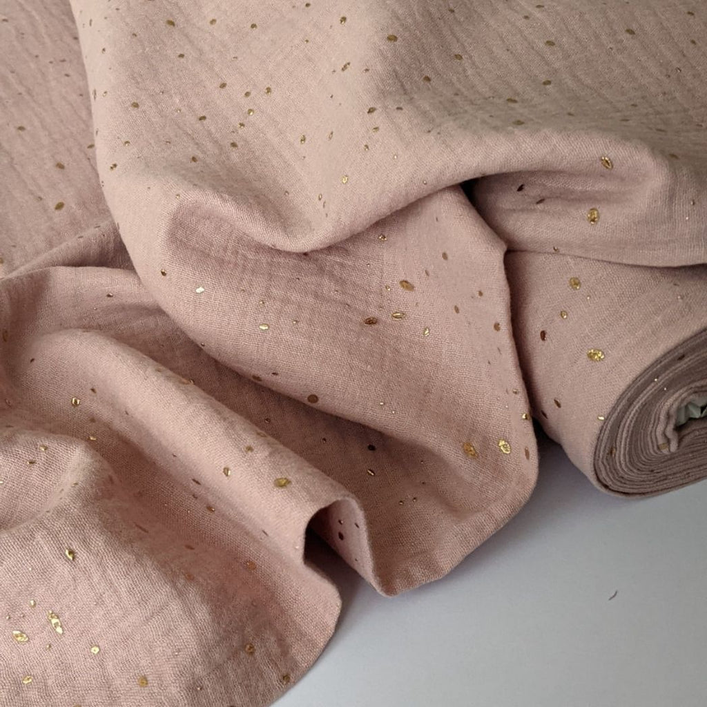 Good Fabric organic double gauze in blush with gold dots