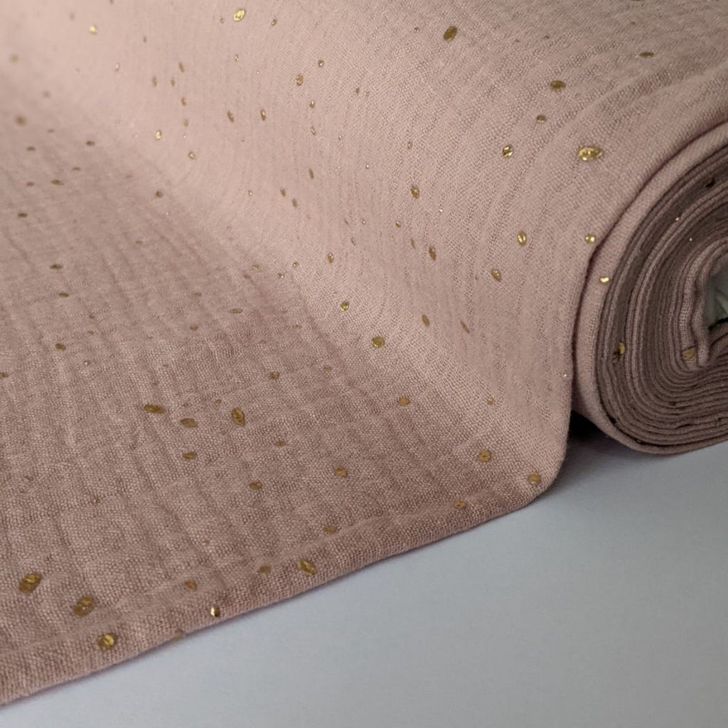 Good Fabric organic double gauze in blush with gold dots overview