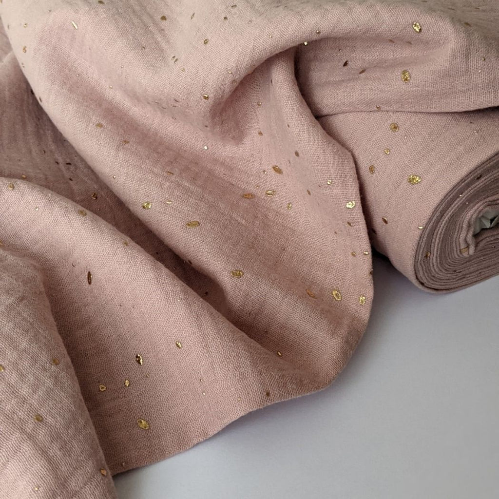 Good Fabric organic double gauze in blush with gold dots  folded view