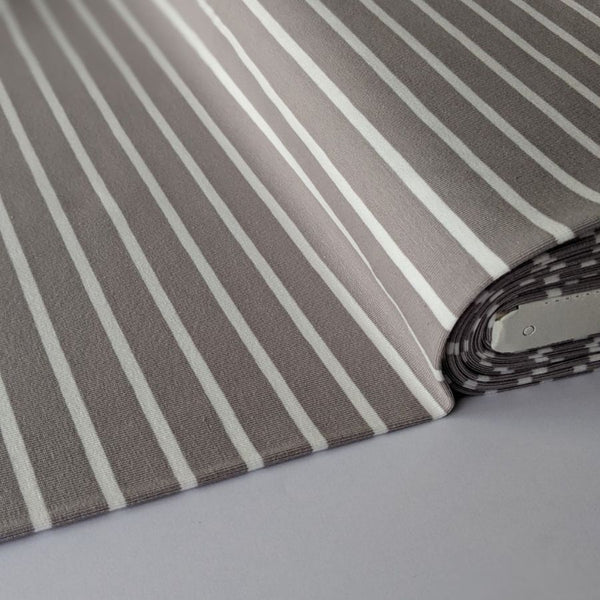 Good Fabric organic stripe jersey in grey and white flat view