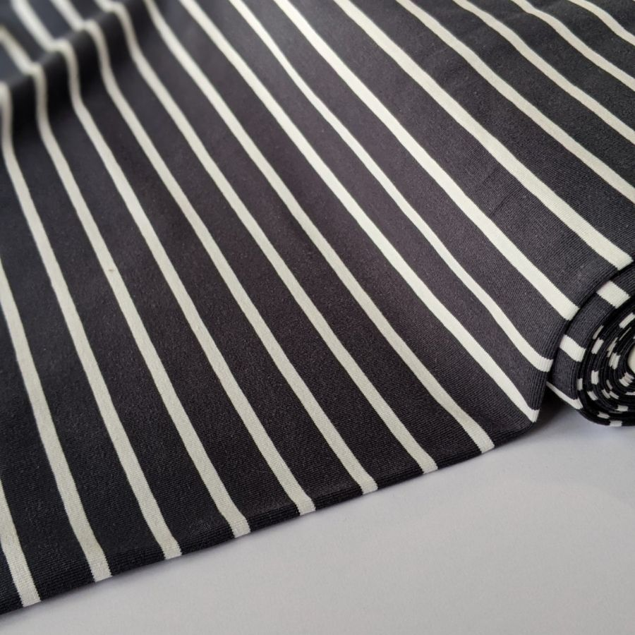 Good Fabric organic stripe jersey in dark grey and white flat view