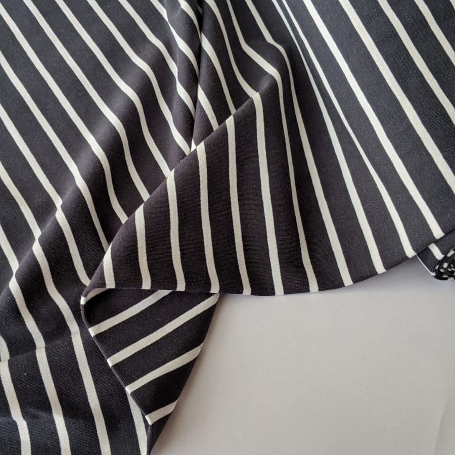 Good Fabric organic stripe jersey in dark grey and white folded view