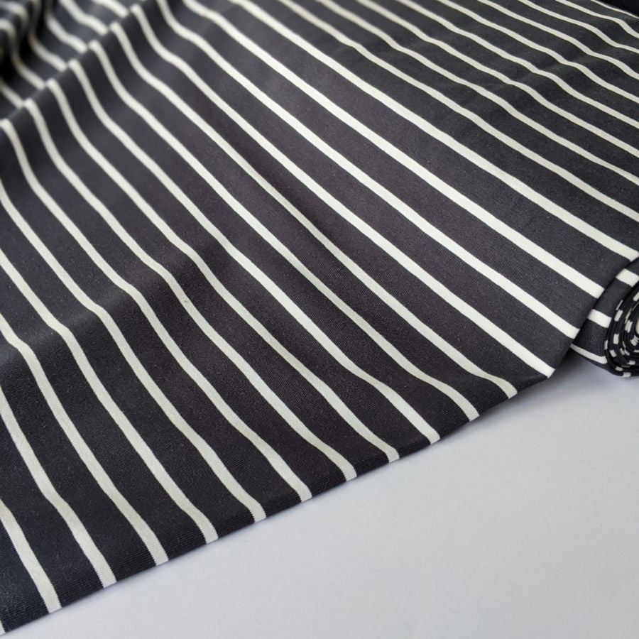 Good Fabric organic stripe jersey in dark grey and white top view