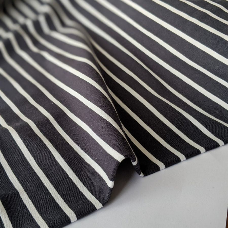 Good Fabric organic stripe jersey in dark grey and white