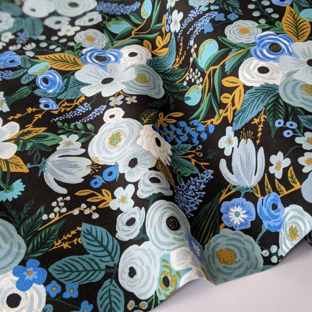 Rifle Paper cotton fabric garden party print in blue wave view