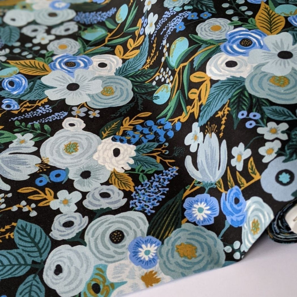 Rifle Paper cotton fabric garden party print in blue