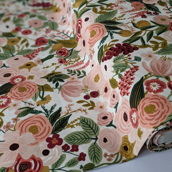 Rifle Paper cotton fabric garden party print in rose