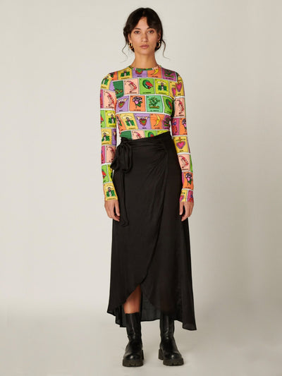 STIEGLITZ Satin Wrap Skirt