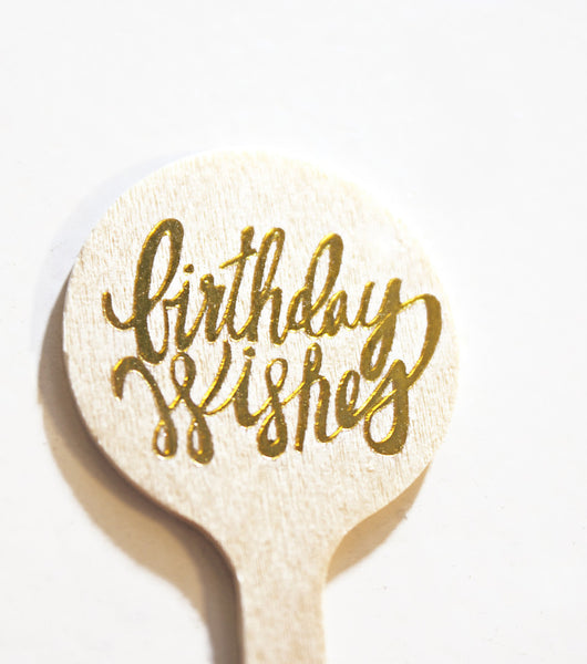 Birthday Wishes Bev Stirrers - Gold - Wynwood Letterpress  - 2