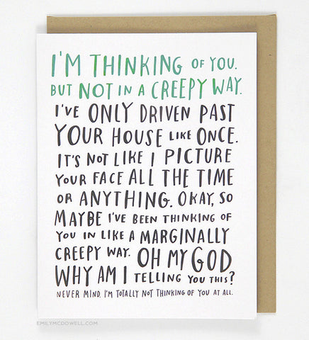Awkward Thinking Of You Card - Wynwood Letterpress