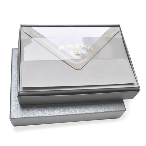 Classic Plain Edge Notecard Silver Box - Wynwood Letterpress