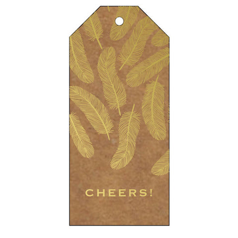 Kraft Foil Stamped Feather Cheers Tag - Wynwood Letterpress