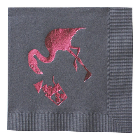 Flamingo Foil Cocktail Napkins - Wynwood Letterpress