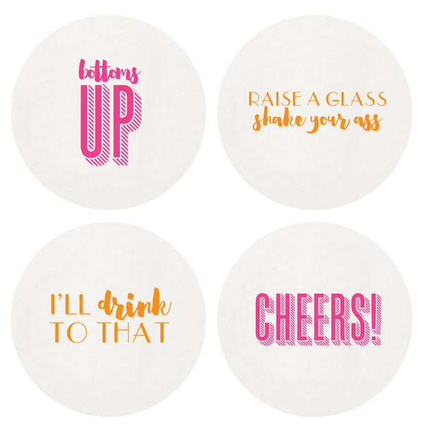 Neon Cheers Boxed Letterpress Coasters - Wynwood Letterpress