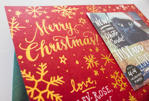 Merry Christmas Foil Stamped Photo Card Set - Wynwood Letterpress  - 1