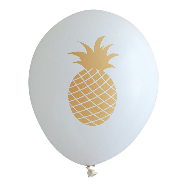 Gold Pineapple on White Balloons - Wynwood Letterpress