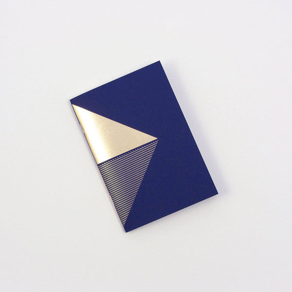 Brass & Navy Geometric Mini Notebook - Wynwood Letterpress