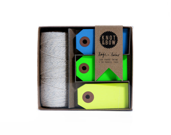 Tag & Twine Kit- Silver/Cool Neon (blue, green, yellow) - Wynwood Letterpress