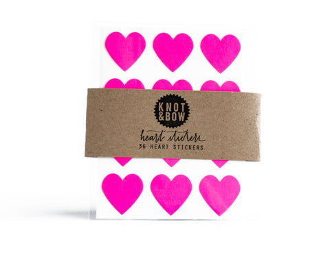 Neon Pink Heart Stickers - Wynwood Letterpress