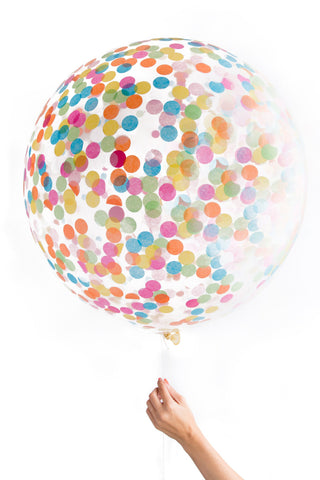 Jumbo Confetti Balloon - Clear with Multi Colored Confetti - Wynwood Letterpress  - 1