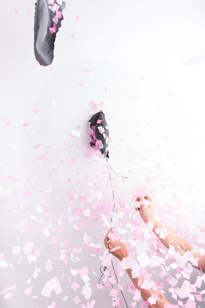 Gender Reveal Jumbo Confetti Balloon - Black with Pink OR Blue Confetti - Wynwood Letterpress  - 3