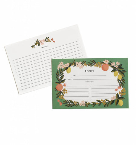 Citrus Floral Recipe Card Set - Wynwood Letterpress  - 1