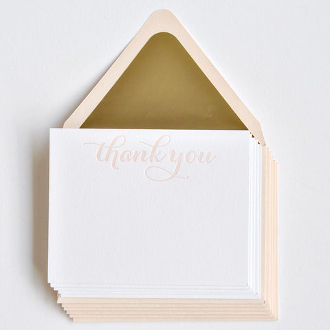 Gracious in Gold Notes & Envelopes Blush - Wynwood Letterpress  - 1