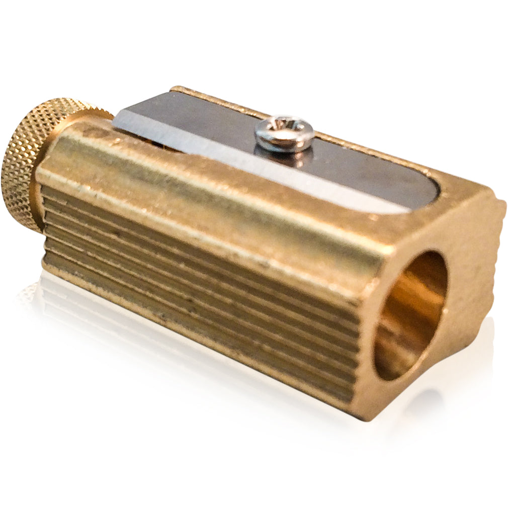 Brass Pencil Sharpener w Leather Case - Wynwood Letterpress  - 3
